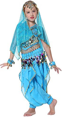 Kostüm Bauchtänzerin Kinder Für (Seawhisper Mädchen Kinder Bauchtanz indianisch Tanzkostüme Halloween Karneval Kostüme)