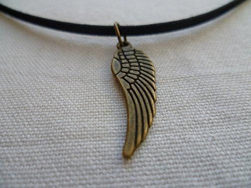 Angel Wing, Wing Halsband Collier, Flügel Halskette, Guardian Angel, Engel Flügel Halskette, Bronze Flügel, Wildleder, Choker -