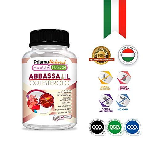 Integratore di Riso Rosso + Coenzima Q10   Con Betaglucano + Resveratrolo + Maitake + Mango Africano e Vitamina D - 60 capsule