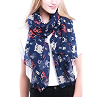 StyleSlice® Owl Print Scarf for Women/Ladies Fashion Lightweight Shawl Wrap in Grey, Navy Blue, White, Black, Red, Teal/Soft Elegant Oversized Scarfs/Gifts for Her, for Mum/Owl Gifts