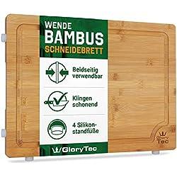 Glorytec Tabla de Cortar Cocina/trinchar Tabla de bambú - 45 cm x 30 cm x 2 cm Grande y Robusto Cocina - Tabla de Cortar de Madera