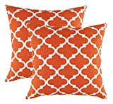 TreeWool Dekorativer Kissenbezug (50 x 50 cm, California Orange) Trellis Design 100% Baumwolle (2er Pack)
