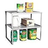 Küchenregal Aufbewahrung für Küchenschrank zum Ausziehen Stapelbar Lagerregal Silber