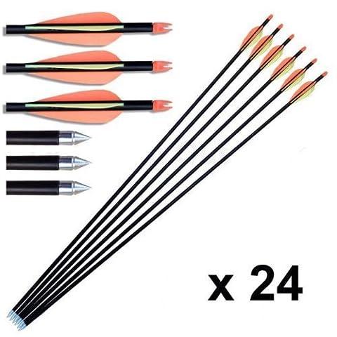 24 pcs Hunting Arrow Hunter Nocks Fletched Arrows Fiberglass Target Practice Arrow 32