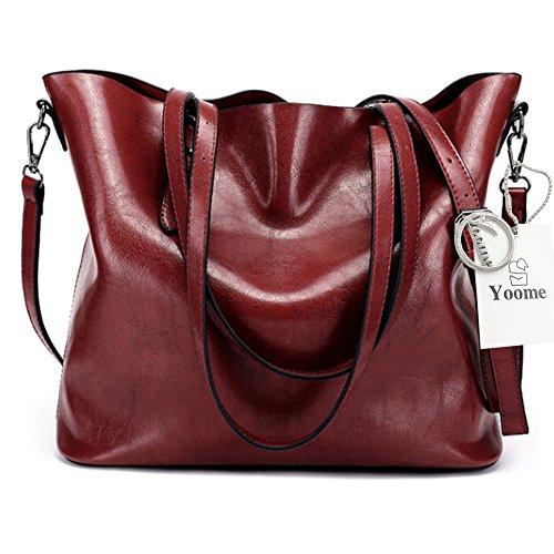 Yoome Top Handle Tote Elegant Taschen Für Frauen Damen Geldbörse Geldbörse Make-up Beutel Tasche Beiläufige Taschen - (Kostüm Ara Roter)