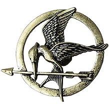 Juego de 3joyas: pulsera, broche y collar de bronce antiguo, diseño del Sinsajo de los Juegos del Hambre