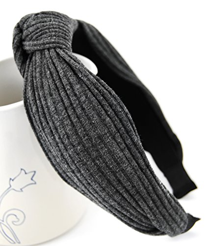 axy HR34 Stoff Haarreif mit Schleife-Vintage-Wunderschön Stirnband Haarschmuck (Grau)