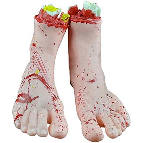 OUMOSI residuo Arti Rotto mani piedi realistico Bloody umani piede Haunted House Party Halloween Props 1paio Skincolor A02