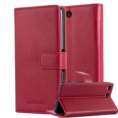 Cadorabo Hülle für Sony Xperia M5 - Hülle in Wein ROT – Handyhülle im Luxury Design mit Kartenfach und Standfunktion - Case Cover Schutzhülle Etui Tasche Book