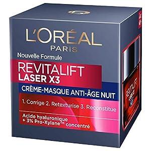 L'Oréal Paris – Revitalift – Laser X3 – Crème Masque Nuit Triple Action – Anti-Rides & Multi-Correction – Anti-Âge – 50 ml