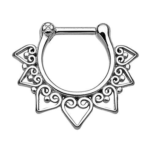 Piercingfaktor Universal Piercing Septum auch für Tragus Helix Ohr Nase Lippe Brust Intim - Schild Clicker Ring Silber