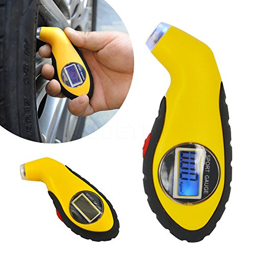 amiciKart® Digital Lcd Tire Air Pressure Gauge for Auto, Car, Motorcycle with Backlight.