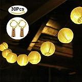 LED Solar Laterne Lichterketten, OFUN 6.5M 30 LED 2 Beleuchtung Modi Wasserdicht Laterne Solar Power Lichterketten für Outdoor, Party, Garten, Rasen, Terrasse, Home Decortaion (Warm White)
