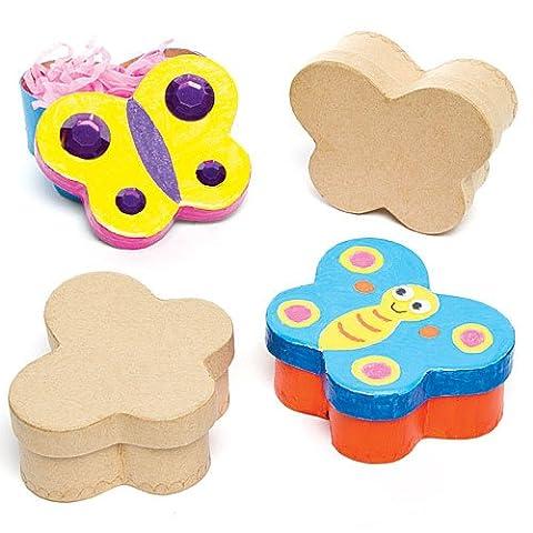 Boîtes Papillons en Carton que les Enfants pourront Peindre, Décorer et Personnaliser (Lot de 4)