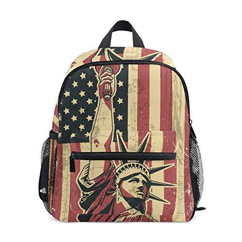 Kinderrucksack, leichte Vorschul-Tasche für Kinder Mädchen Jungen, Statue of Liberty USA Flag Design Tasche