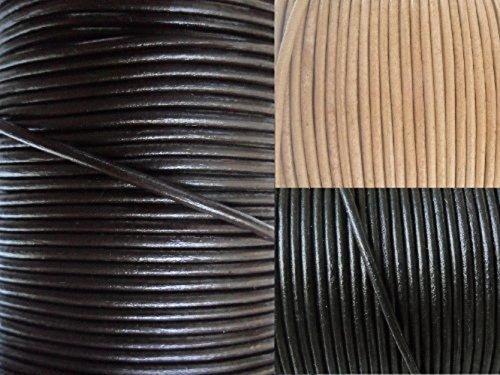 AURORIS - Lederband rund Ø 1,5 mm - Länge / Farbe wählbar - Variante: 5m / dunkelbraun