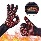Grillhandschuhe Ofenhandschuhe, Jaminy Grillhandschuhe hitzebeständig Hochwertige Ofenhandschuhe ideales Grill Zubehör Hitzefeste BBQ Rutschfeste Handschuhe (F)