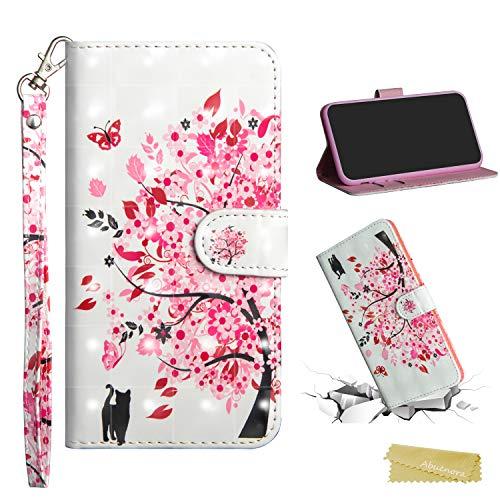 Xiaomi Mi 8 Lite Funda Libro, Carcasa con Tapa Flip Case Antigolpes Parachoques Golpes Cartera Billetera 3D PU Cuero Suave para Xiaomi Mi 8 Lite - Arbol