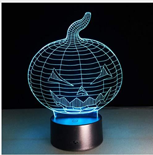 Leselampe Nachttischlampe Tischlampe Schreibtischlampe Tischleuchte Halloween Kürbis Schädel 3D Usb Led Nachtlicht 7 Farben Ändern Stimmung Lampe Touch-Taste Kinder Schlafzimmer