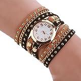 SSITG Damen Uhr Leder Nieten Armbanduhr Goldkette Analoguhr Quarzuhr Uhr Wickelarmbanduhr