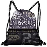 Drawstring Backpacks Bags,Retro Style American Football College Theme Illustration Athletic Championship Apparel,5 Liter Capacity,Adjustable
