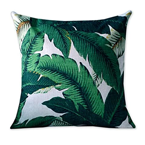 Nordic Simple Cotton Linen Pillowcase Tropical Palm Leaf Sofa Cushion Decorative Pillow Covers Home