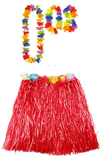 Damen Hawaiian Hula 40cm oder 80cm lang Hula Rock & Lei Hula Halskette Armband Fancy Dress Set Hochzeit Henne Nacht (Einheitsgröße, Rot (40cm))