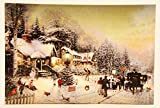 LED großes Wandbild Winterlandschaft beleuchtet Kutsche 40cm x 60cm Leinwand Bild