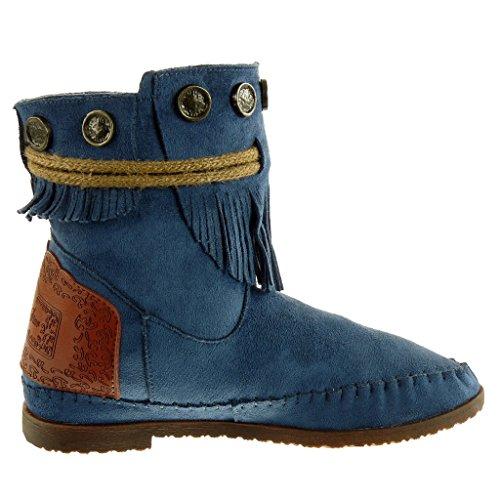 Angkorly - Chaussure mode Bottine bottes indiennes Femme frange lanière métallique Talon bloc 1.5 CM Bleu