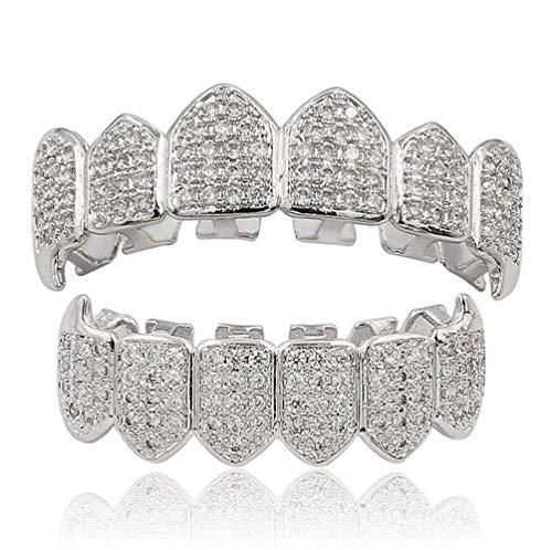 L&H Hip Hop Dental Grill Set Micro-Inlay Diamond Braces Vampire Teeth Grillz BBQ Fashion Jewelry Men und bemalt,Silver (Inlay-satz)