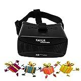 GIZGA Gafas de Realidad Virtual VR Gafas 3D con Lente Ajustable para Vídeo para Ver 3D Películas / Juegos Compatible con iPhone 6s/6 Plus/6/5S/5C/5 Samsung Galaxy S5/S6/Note4/Note5 & Otros 3.5-5.5 Teléfonos Celulares,Negro