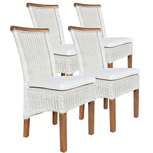 casamia Rattanstuhl-Set Perth 4 Stück Leinen weiß mit Sitzkissen One Size -