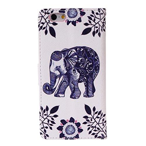 Coque pour Apple iPhone 6S Plus/ 6 Plus 5.5 Zoll,Housse en cuir pour Apple iPhone 6S Plus/ 6 Plus 5.5 Zoll,Ecoway Colorful imprimé étui en cuir PU Cuir Flip Magnétique Portefeuille Etui Housse de Prot éléphant