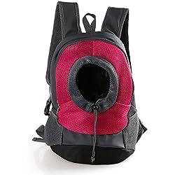 Kismaple Mochila de la bolsa del portador del perro de animal doméstico Fuera de Carrier Bolsa de hombro doble Mochila para mascotas para Caminar, Senderismo, Viajes, Bicicleta y Motocicleta (Rosa, Grande (Mascotas de menos de 8kg))