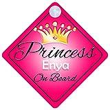 ENYA Balai serpillère Princess On Board Personnalisé Fille Voiture Panneau pour bébé/enfant cadeau 001