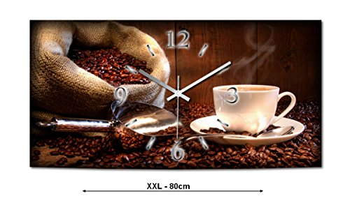 Kaffee XXL Designer Funk Wanduhr Funkuhr modernes Design * Made in Germany* WA092FL-X