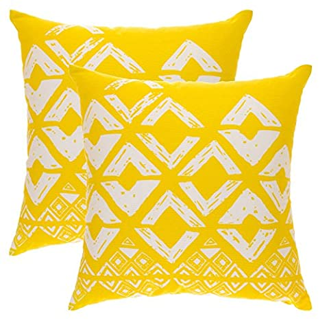 TreeWool, (Pack of 2) Cotton Canvas Square Geometric Accent Decorative Cushion Covers (45 x 45 cm, Yellow &
