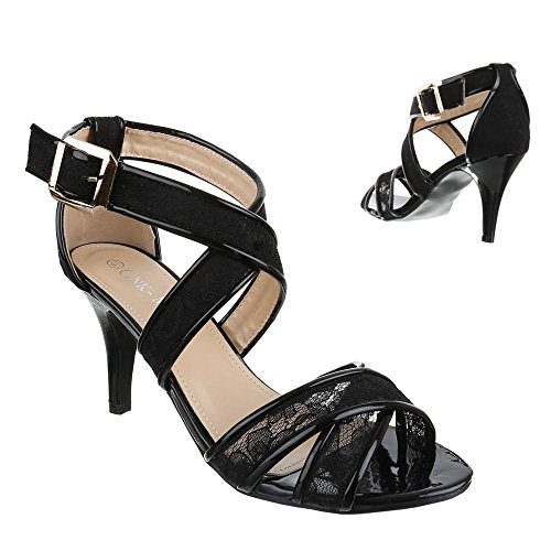 Damen Schuhe, DM1491-6, SANDALETTEN HIGH HEELS PUMPS Schwarz