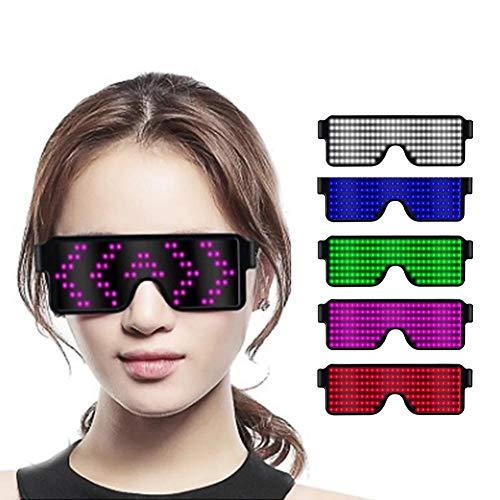Zexa Light Up Brillen Flashing Shutter Neon Leuchtgläser Multicolor LED Leuchtgläser mit 8 Modi für Party-Weihnachtsgeburtstag