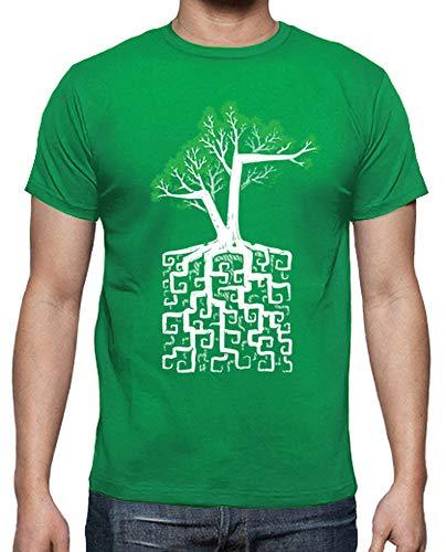 tostadora - T-Shirt Radice Quadrata - Uomo Verde Prato S