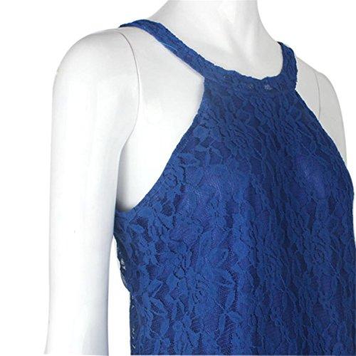 CYBERRY.M Débardeur Femme Fille Été Sans Manches Dentelle Tank Uni Chemise Vest T-shirt Bleu