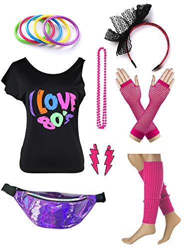 es Set für Damen Ich Liebe das 80er Jahre T-Shirt mit Neon Gürteltaschen ()