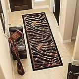 TAPISO® Alfombra De Pasillo Moderno - Colección Atlas - Color Marrón Negro Diseño Bordura Piel De Animales Leopardo Guepardo Tigre 80 x 200 cm