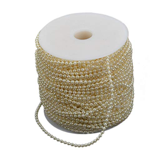 TOOGOO Cha?ne De Perle Artificielle en Plastique D'ABS De 3Mm 110M,Décoration De Fête De Mariage Artisanat De Bijoux De Vacances —— Beige