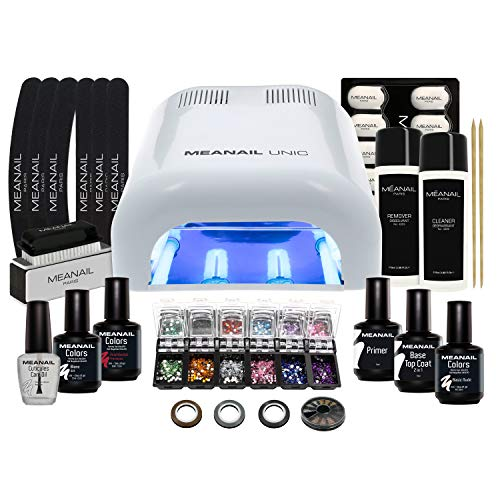Nagelstudio Set komplett • Meanail® Paris Deluxe XXL • Maniküre + Pediküre • inkl. Naildesign Zubehör (30-teilig) • 1 UV LED Lampe für Nägel • UV GEL • Nailart • Vegan&Cruelty free