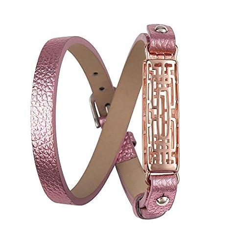 Wearlizer Bracelet de rechange en cuir pour Fitbit Flex 2,avec boîtier en métal, style classique, réglable, Pink, Rose Gold Case