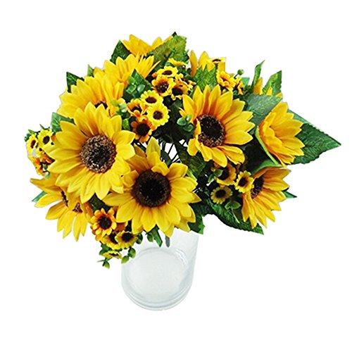 Sonnenblumen Faux Seide (beiguoxia 7 têtes Faux bouquet de fleurs de tournesol artificiel en soie Décor de mariage à la maison)
