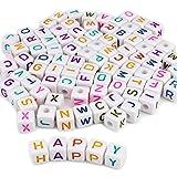 ESUMIC® Acryl Kunststoff Buchstaben Perlen Spacer Würfel Alphabet Perlen für DIY Armbänder Halsketten Ketten 10 * 10mm 100PCS