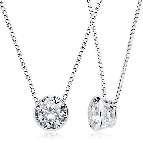 Schwebender Stein Kette Damen 925 Sterling Silber 8mm Zirkonia - Halsketten Für Frauen Mit Silber Kette 925 Damen - Damenkette Silber
