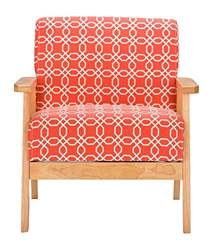 Baxton Studio Aimon Mid Century Orange Patterned Fabric Armchair